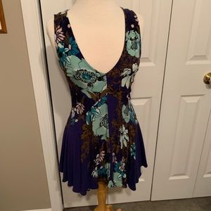 Free People Blue Back Yard Party Printed Tunic